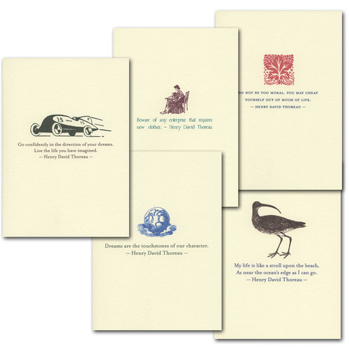 "Boxed Quotation Cards ""Thoreau Quotations Assortment"" vintage illustrations and old fashioned typeface with timeless quotes from Henry David Thoreau"