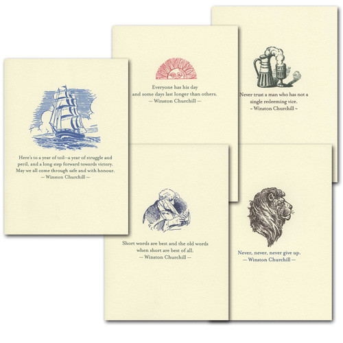 "Boxed Quotation Cards ""Churchill Quotations Assortments"" Vintage drawings with old fashioned typeface with timeless quotes from Winston Churchill"