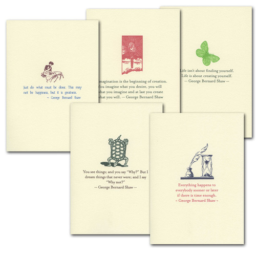 "Boxed Quotation Cards "" Shaw Quotations Assortment"" Vintage drawings with old fashioned typeface with timeless quotes from George Bernard Shaw"