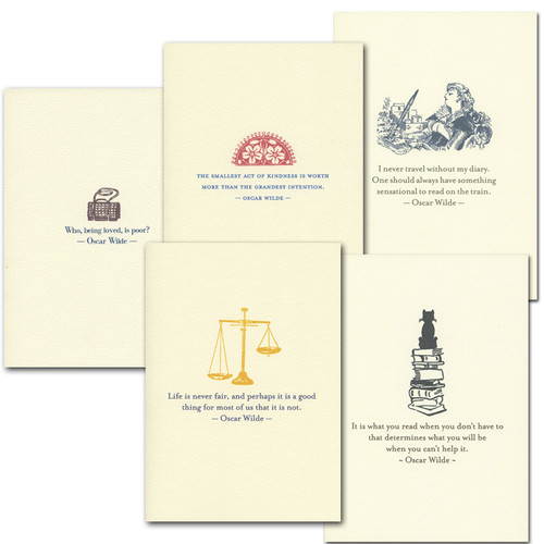 """Boxed Quotation Cards """"Wilde Quotations Assortment"""" Vintage drawings with old fashioned typeface with  timeless quotes from Oscar Wilde"""