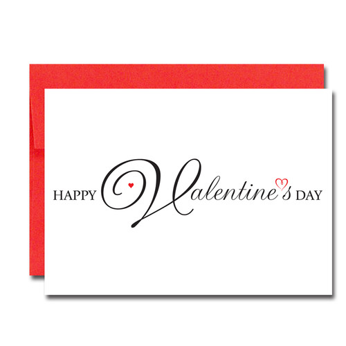 "Image of Valentine Card  Script Heart with the words "" Happy Valentines Day"" in script lettering across the front of the card"
