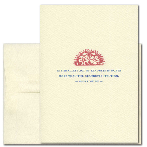 "Quotation Card ""Smallest Act: Wilde"" Cover shows vintage floral demi-lune with a quote by Oscar Wilde reading: ""The smallest act of kindness is worth more than the grandest intention."""