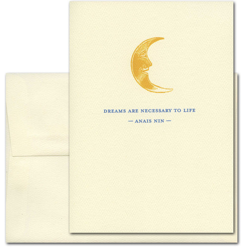 "Quotation Card ""Dreams: Nin"" Cover shows old fashioned illustration of a happy faced gold crescent moon with a quote from Anais Nin reading: ""Dreams are necessary to life."""