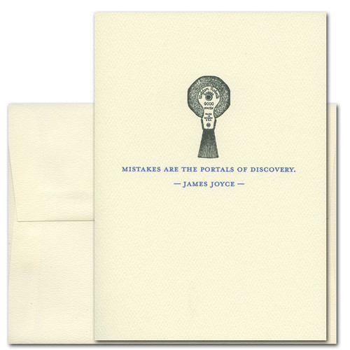 "Quotation Card "" Mistakes: Joyce"" Cover shows old fashioned typewriter eraser with a quote by James Joyce that reads: ""Mistakes are the portals of discovery"""