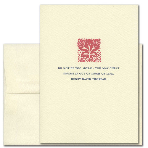 "Quotation Card ""Too Moral: Thoreau"" Cover shows a red vintage leafy pattern with a quote from Henry David Thoreau reading ""Do not be too moral. You may cheat yourself out of much of life."""