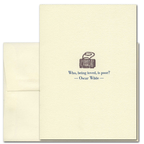 "Quotation Card ""Who Is Poor: Wilde"" Cover shows a vintage illustration of a purse with a quote by Oscar Wilde that reads ""Who, being loved, is poor? """