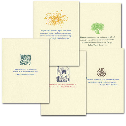"Boxed Quotation Cards "" Emerson Quotations Assortment"" Vintage drawings paired with inspiring quotes by Ralph Waldo Emerson"