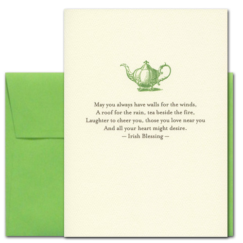St. Patrick's Day Card - Tea by the Fire