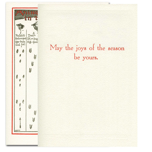 """Animal Tracks - inside greeting in red ink reads, """"May the joys of the season be yours"""""""