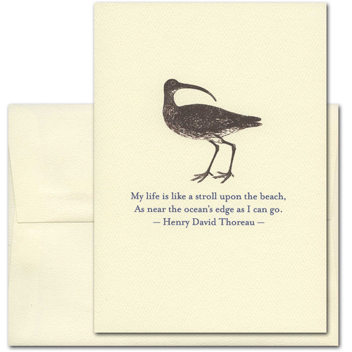 "Quotation Card ""Stroll Upon The Beach: Thoreau"" Cover shows vintage illustration of a sandpiper with a quote by Henry David Thoreau reading: ""My life is like a stroll upon the beach, As near the ocean's edge as I can go."""