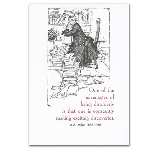 """Saturn Press Quotation Card """"Discoveries: Milne"""" Cover shows old fashioned illustration of a man sitting in a messy room filled with books with quote by A.A. Milne: """"One of advantages of being disorderly is that one is constantly making exciting discoveries."""""""