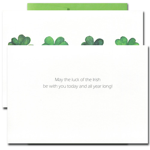 Inside of Saint Patrick's Day card reads: Wishing you the luck of the Irish today and all year long