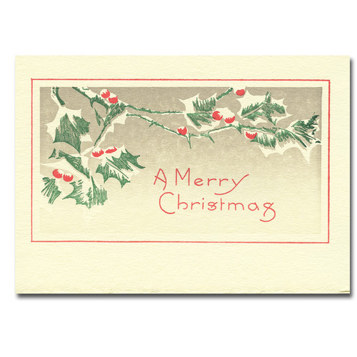 "Letterpress Holiday Card - Snow Berries cover shows green holly leaves with red berries and the greeting ""A Merry Christmas"""