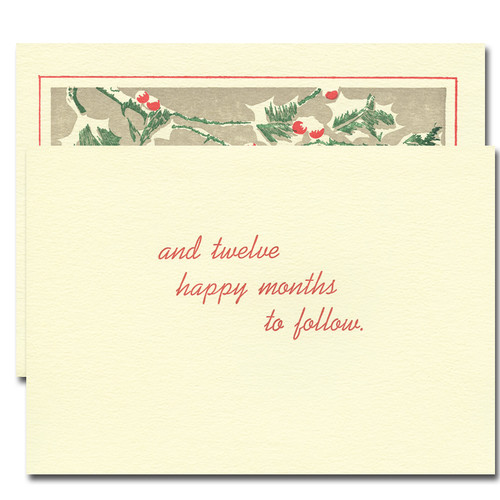 "Snow Berries Letterpress Holiday Card - inside greeting reads, ""and twelve happy months to follow"""