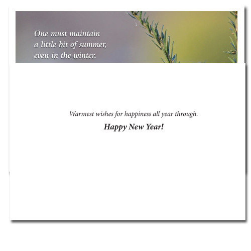 Chickadee New Year Card inside reads:  Warmest wishes for happiness all year through. Happy New Year!