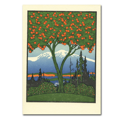 "Saturn Press All Occasion Card ""Orange Tree"" Cover shows giant orange tree in the foreground with beautiful landscape and mountains in the background."
