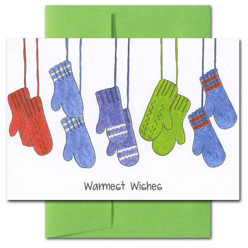 "Mittens Holiday Card cover shows a lineup of red, green and blue mittens on strings and the words ""Warmest Wishes"""
