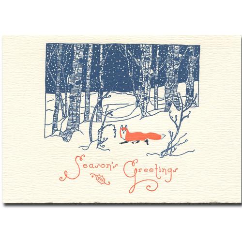 Snow Fox holiday card cover reads: Season's Greetings