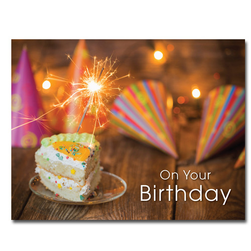 "Party Hats Birthday Postcard shows a slice of cake, sparkling lights, party hats and the wording ""On Your Birthday"""