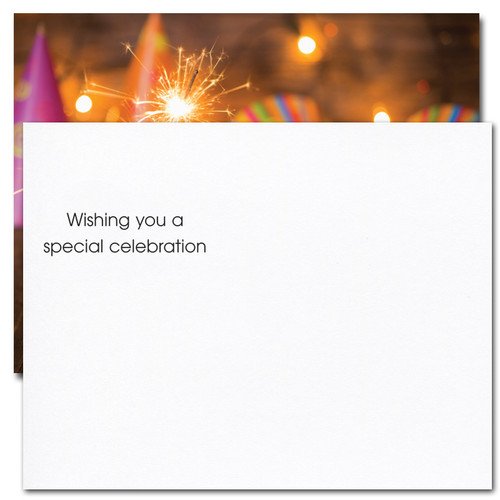 """Party Hats Birthday Postcard greeting reads: """"Wishing you a special celebration."""""""