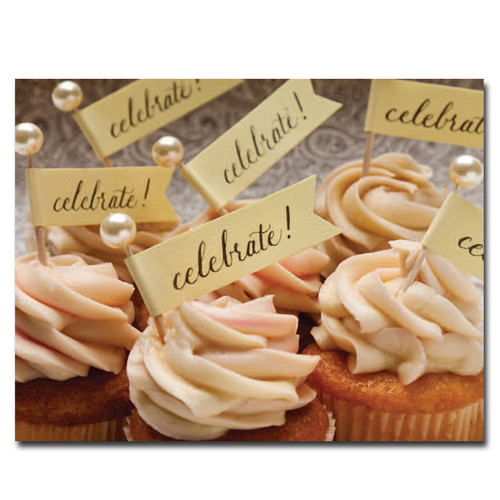 Celebration Cupcakes Birthday Postcards shows a collection of cupcakes with small flags in them with the word celebrate! on each flag