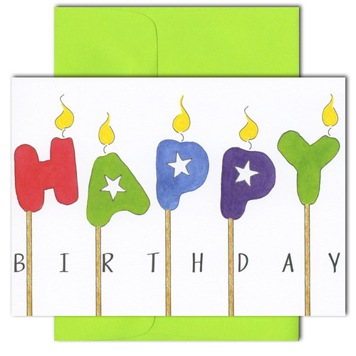 "Business birthday-card-happy-candles cover has reproduction of hand drawn sketch with candles spelling the words ""Happy Birthday"""