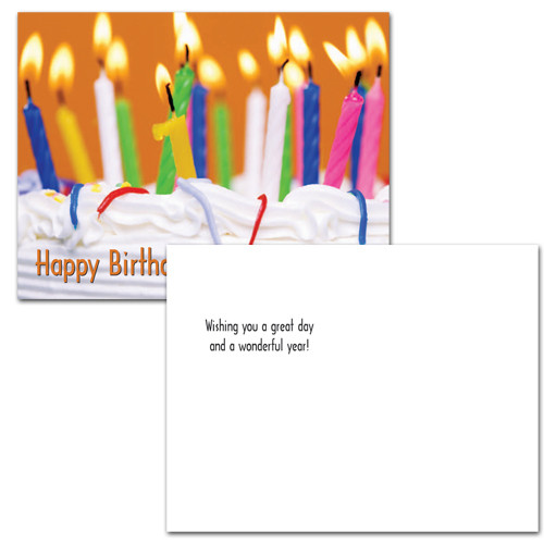 "Birthday postcard ""Festive Cake"" with photo of different colored lighted birthday candles on cake with the words Happy Birthday in red letters in the left lower corner.  The reverse side has the words ""wishing you a good day and a wonderful year"" and space for name, address and a personalized birthday message for business, corporate or school student recipients."
