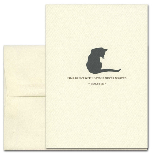 "Quotation Card ""Time Spent: Colette"" Cover shows vintage illustration of black cat with a quote by Colette ""Time spent with cats is never wasted."""