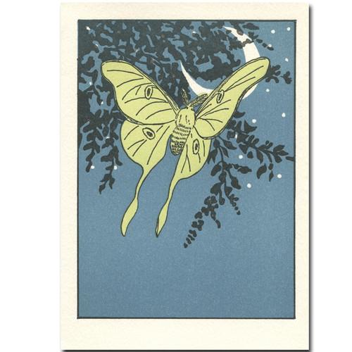 Saturn Press letterpress card, Luna