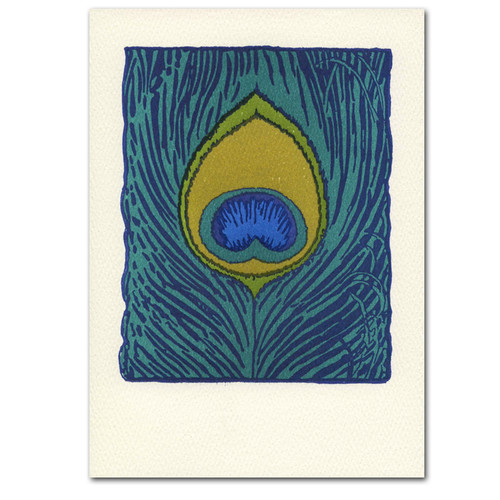 "Saturn Press All Occasion Card ""Peacock Feather"" Cover is a close up drawing of peacock feather in deep green and blue hues."