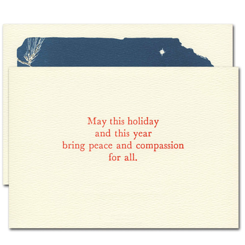 """Beautiful Peace Letterpress Holiday Card - inside greeting reads, """"May this holiday and this year bring peace and compassion for all"""""""