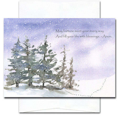 Every Way Holiday Card cover shows a snowy day with tracks crossing in the snow. Quotation reads: May fortune meet your every way and fill your life with blessings. -Anon.