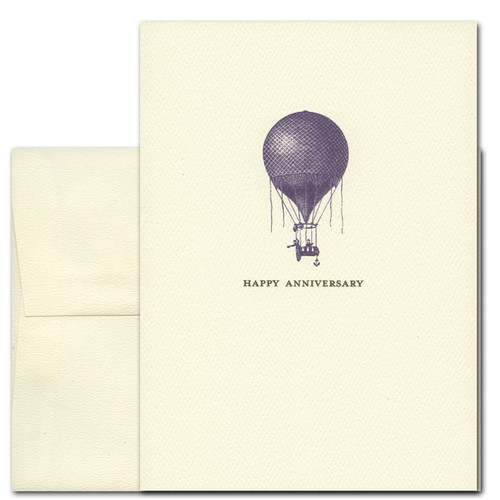 Anniversary Card - Antique Balloon shows an old-fashioned hot air balloon printed in deep purple