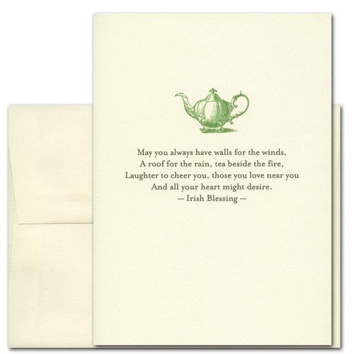 "Quotation Card ""Tea Beside the Fire: Irish Blessing"" Cover shows vintage illustration of a green teapot and an Irish blessing that says: ""May you always have walls for the winds, a roof for the rain, tea beside the fire, laughter to cheer you, those you love near you and all your heart might desire."""