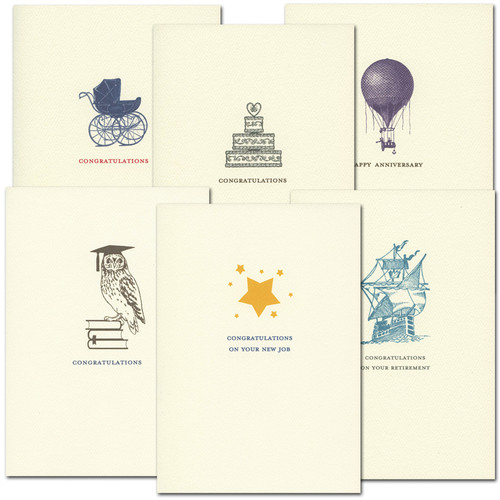 Assorted Congratulations Cards for baby birth, retirement congrats, graduation congrats, birthday congratulations, new job congratulations, Anniversary congratulations