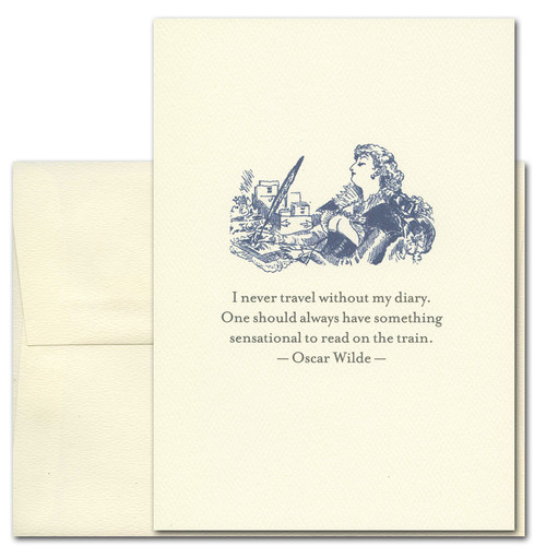 "Quotation Card ""Diary: Wilde"" Cover shows vintage style drawing of a woman writing with a feather quill pen with a quote by Oscar Wilde that reads: ""I never travel without my diary. One should always have something sensational to read on the train."""