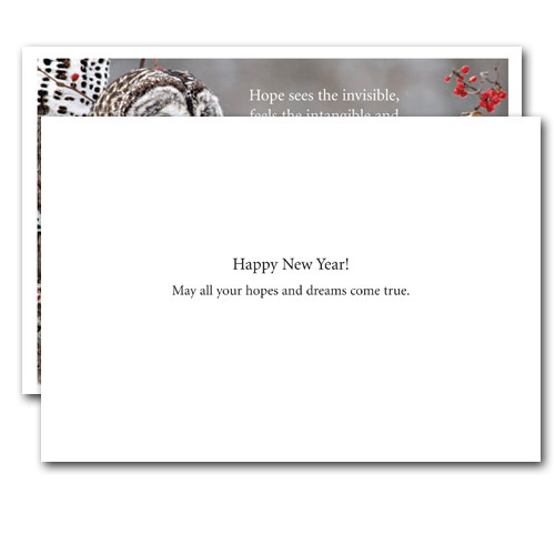 Hope New Year Card inside reads, Happy New Year! May all your hopes and dreams come true