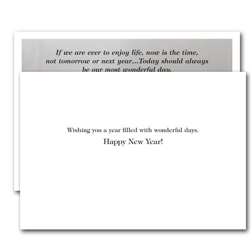 """Most Wonderful Day New Years Card inside reads, """"wishing you a year filled with wonderful days.  Happy New Year!"""""""
