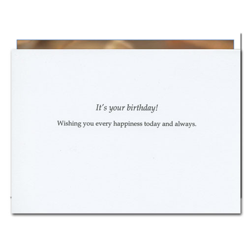 "Business birthday card Inside with black lettering on white background with the text ""It's your birthday! Wishing you every happiness today and always"""
