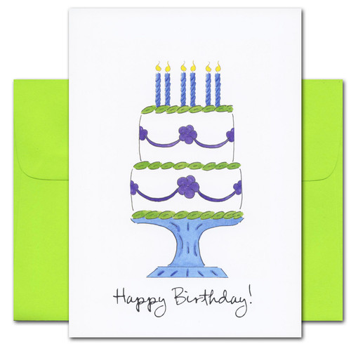 "business birthday-card-cover-have-your-cake with reproduced hand drawn birthday cake with the words ""Happy Birthday"" in script"