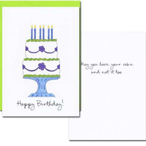 """Cover of boxed Business Birthday Card Have Your Cake with hand drawn birthday cake and the words """"Happy Birthday"""" in script.  Inside reads: """"May you have your cake and eat it too!"""" in black text"""