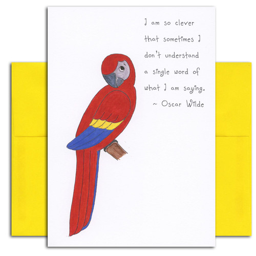 "Quotation Card ""Clever: Wilde"" Cover shows colorful drawing of a parrot perched on a branch with a quote by Oscar Wilde that reads: ""I am so clever that sometimes I don't understand a single word of what I am saying."""