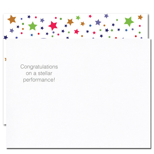 "Flip side of Congratulations Postcard - Great Job! has the words ""Congratulations on a stellar performance!"".  There is also room for addressing and to add a personal congratulations message for the corporate, business or school student that has done the great job"
