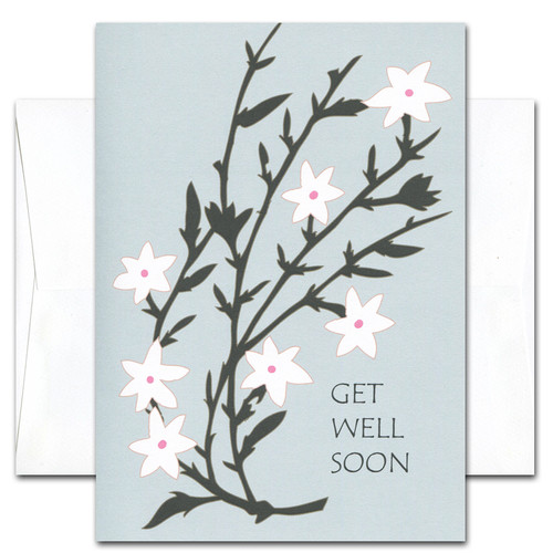 "Get Well Card- White Blossoms cover has an illustration of white blossoms on multiple branches with the words ""Get Well Soon"" in black letters on a blue background"