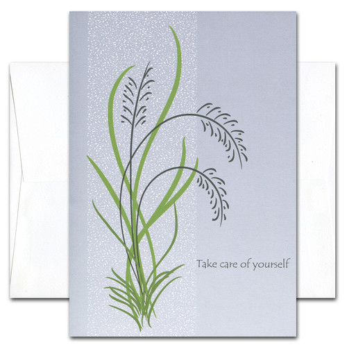 "Get Well Card - Take Care of Yourself cover has an abstract illustration of wild grasses on a gray background with the words "" Take Care of Yourself"""