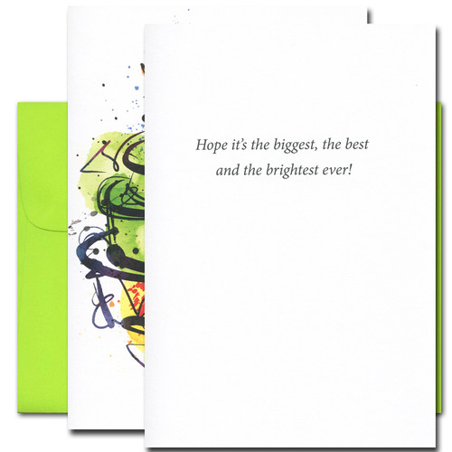 Birthday Card – Big Cake inside are the words: Hope it's the biggest, the best and the brightest ever!""