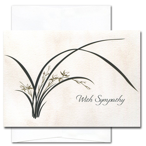"Sympathy card - Wild Orchid cover with a contemporary illustration of a blooming wild orchid plant on a watercolor background and the words ""With sympathy"""