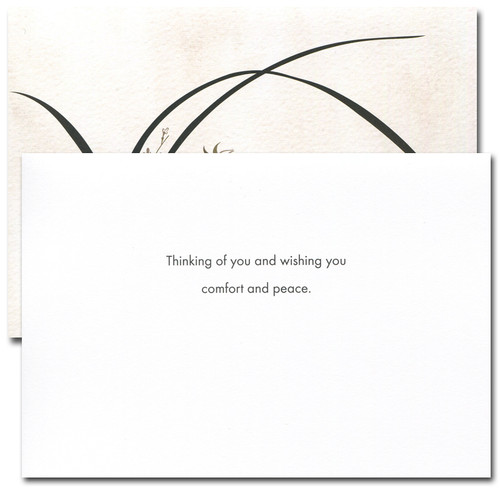 "Sympathy card - Wild Orchid inside has the words ""Thinking of you and wishing you comfort and peace"" and space to write a sympathy message"