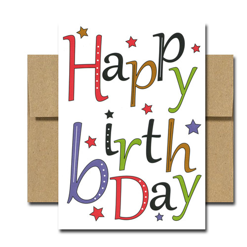 "Boxed Business Birthday Note Card - Stellar Day Cover with the words ""Happy Birthday"" in multi-colored letters on a white background with a smattering of multi-colored stars"