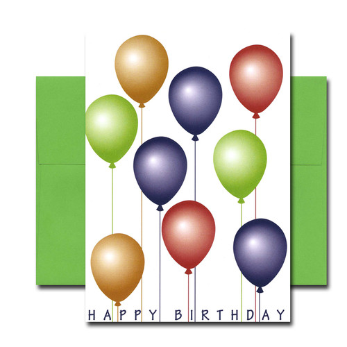"Boxed Business Birthday Note Card - Balloon Brigade Cover has colorful balloons and the words ""Happy Birthday"""